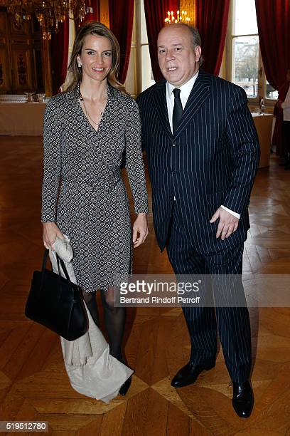 """Writer Felicite Herzog and Marc Lambron attend writer Marc Lambron receives """"L'Epee d'Academicien"""" of """"Academie Francaise"""" on April 6, 2016 in Paris,..."""
