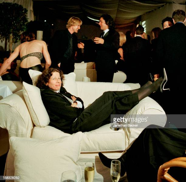 Writer Fran Lebowitz is photographed for Vanity Fair Magazine on March 25 2001 at Vanity Fair's Oscar party at Morton's in West Hollywood California...
