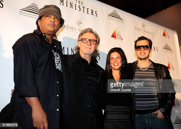 Writer Franc Reyes actor Harvey Keitel producer Jill Footlick and actor John Leguizamo attend the premiere of The Ministers at Loews Lincoln Square...