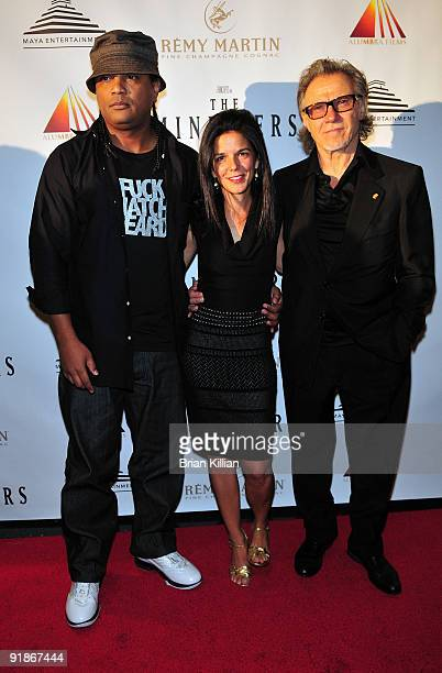 Writer Franc Reyes producer Jill Footlick and actor Harvey Keitel attend the premiere of The Ministers at Loews Lincoln Square on October 13 2009 in...