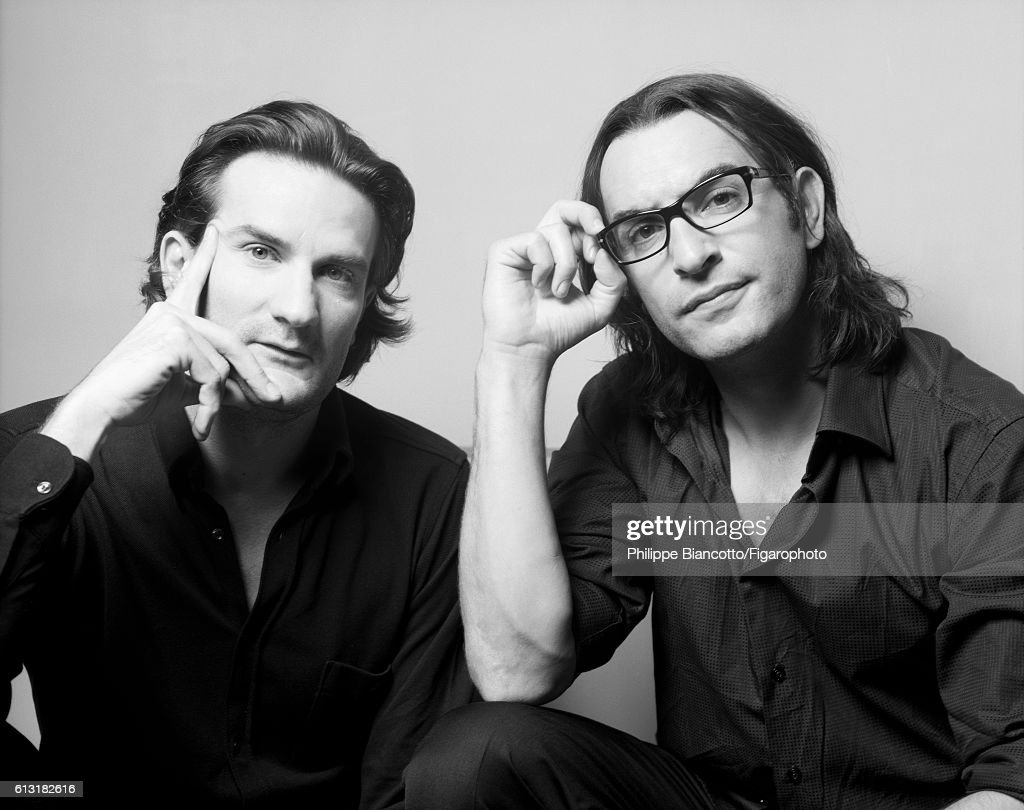 Writer Frederic Beigbeder and actor Jean Dujardin are photographed for Madame Figaro on November 21, 2006 in Paris, France. PUBLISHED IMAGE.