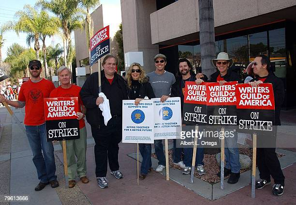 """Writer from """"Battlestar Galactica"""" participate in the Writer's Strike on SCI-FI Channel Day for Fans and Writers at NBC Studios on February 6, 2008..."""