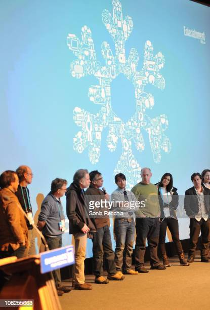 Writer Gary Marks speaks with cast onstage during 'The Music Never Stopped' Premiere at the Eccles Center Theatre during the 2011 Sundance Film...