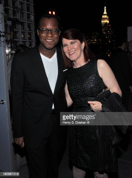 Writer Geoffrey Fletcher and Kate Flannery attend the Ferrari The Cinema Society screening of 'Rush' after part at Hotel Americano on September 18...