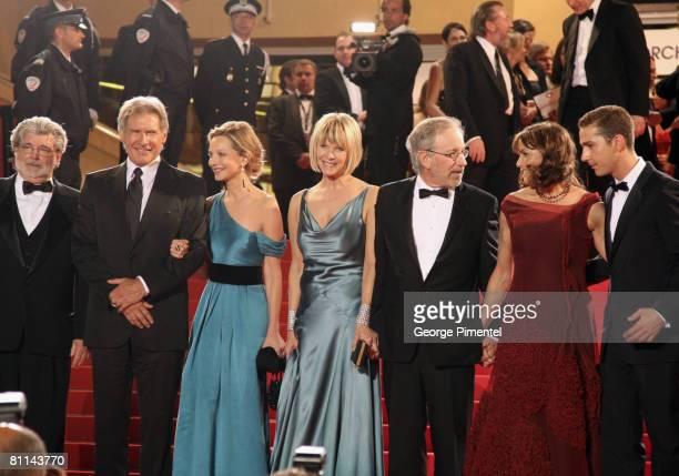 Writer George Lucas actor Harrison Ford actress Calista Flockhart Kate Capshaw director Steven Spielberg actress Karen Allen and Shia Labeouf depart...