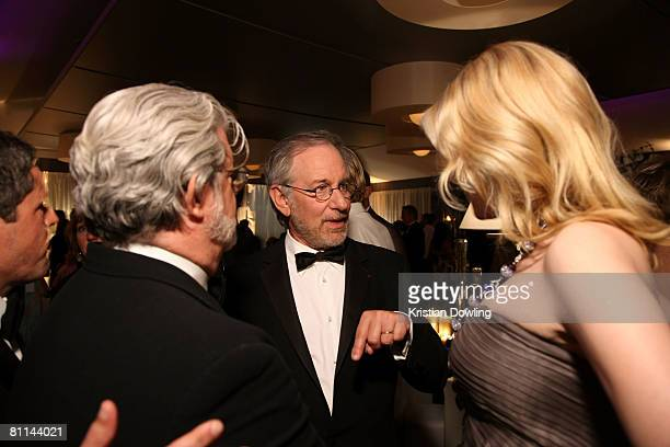 Writer George Lucas Director Steven Spielberg and actress Cate Blanchett attend the Indiana Jones and the Kingdom of the Crystal Skull party during...