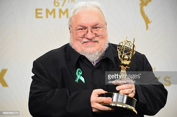 """Writer George R. R. Martin, winner of Outstanding Drama Series for """"Game of Thrones"""", poses in the press room at the 67th Annual Primetime Emmy..."""