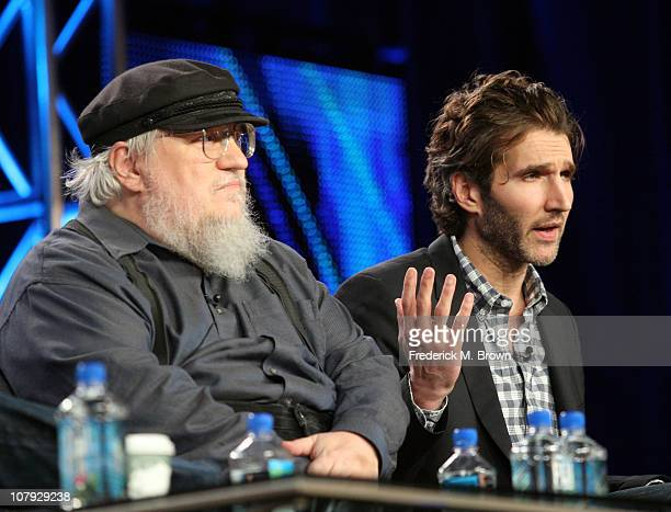 Writer George RR Martin and writer/executive producer David Benioff speak during the 'Game of Thrones' panel at the HBO portion of the 2011 Winter...