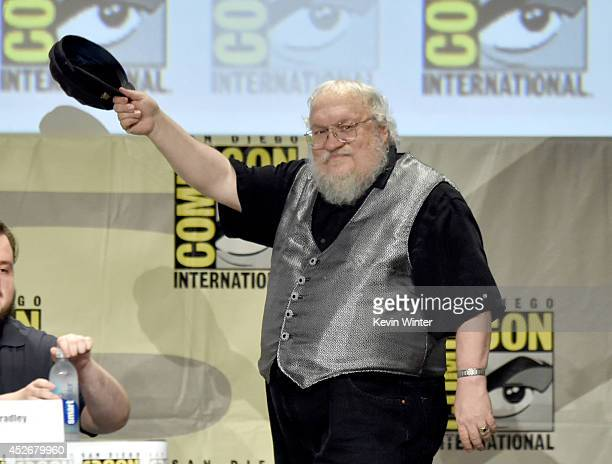 """Writer George R.R. Martin attends HBO's """"Game Of Thrones"""" panel and Q&A during Comic-Con International 2014 at San Diego Convention Center on July..."""