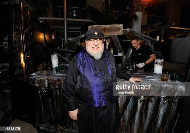 """Writer George R.R. Martin attends the """"Game Of Thrones"""" HBO celebration party inside the WIRED Cafe at Palm Terrace At The Omni Hotel during..."""