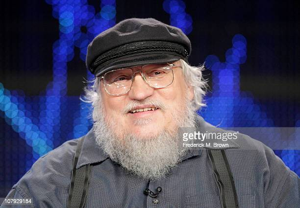Writer George RR Martin speaks during the 'Game of Thrones' panel at the HBO portion of the 2011 Winter TCA press tour held at the Langham Hotel on...