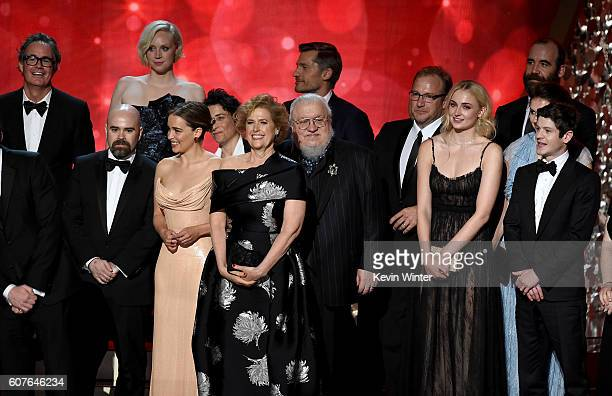 Writer George RR Martin with cast and production team accept Outstanding Drama Series for 'Game of Thrones' onstage during the 68th Annual Primetime...