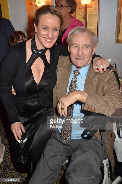 Writer Gerard De Villiers and Malika Fadli attend the Nadine Rodd Wedding Cocktail Party at Salon Diane at the Fouquet's on February 27 2012 in Paris...