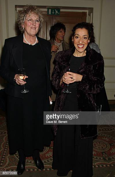 Writer Germaine Greer and Whitbread Book Award winner Andrea Levy attends the South Bank Show Awards at The Savoy on January 27 2005 in London The...