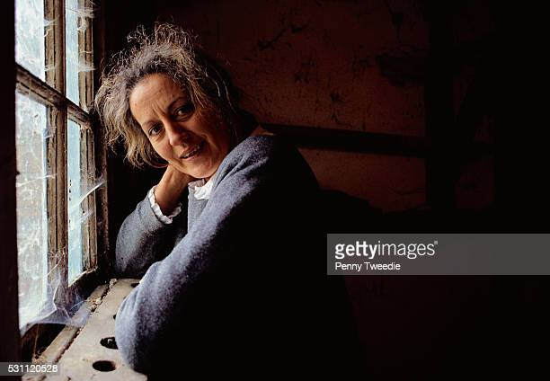 writer germaine greer at window - germaine greer stock pictures, royalty-free photos & images