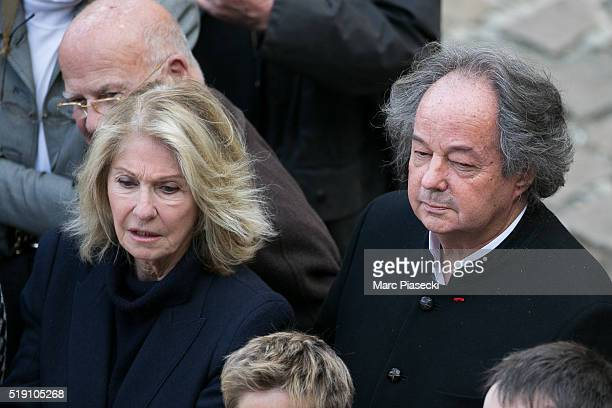 Writer Gonzague Saint Bris attends the funeral ceremony of French writer and academic Alain Decaux at Les Invalides on April 4 2016 in Paris France