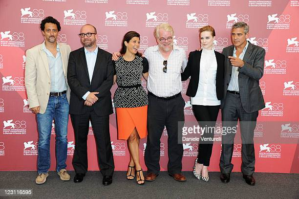 Writer Grant Heslov actors Paul Giamatti Marisa Tomei Philip Seymour Hoffman Evan Rachel Wood and director George Clooney attend the The Ides of...