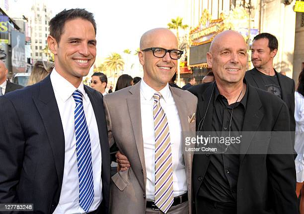Writer Greg Berlanti Producer Donald De Line and director Martin Campbell arrive at the Green Lantern Los Angeles Premiere held at at Grauman's...