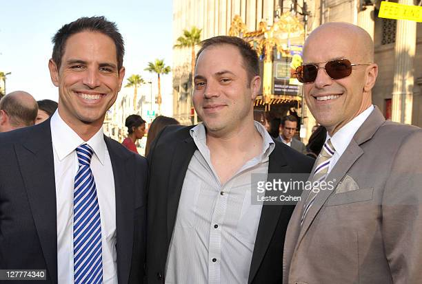 Writer Greg Berlanti producers Jeff Johns and Donald De Line arrive at the Green Lantern Los Angeles Premiere held at at Grauman's Chinese Theatre on...