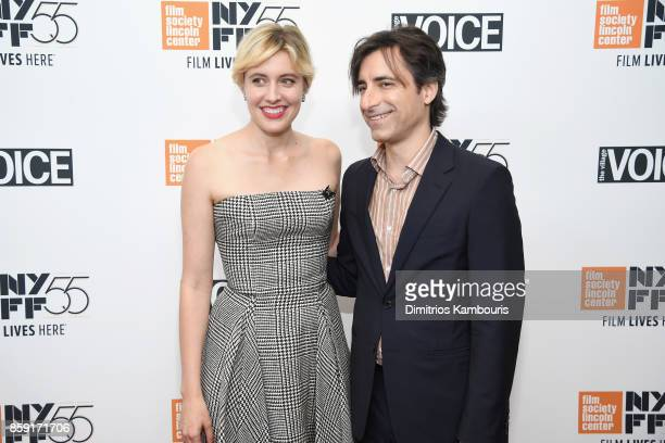 Writer Greta Gerwig and filmmaker Noah Baumbach attend 55th New York Film Festival screening of 'Lady Bird' at Alice Tully Hall on October 8 2017 in...