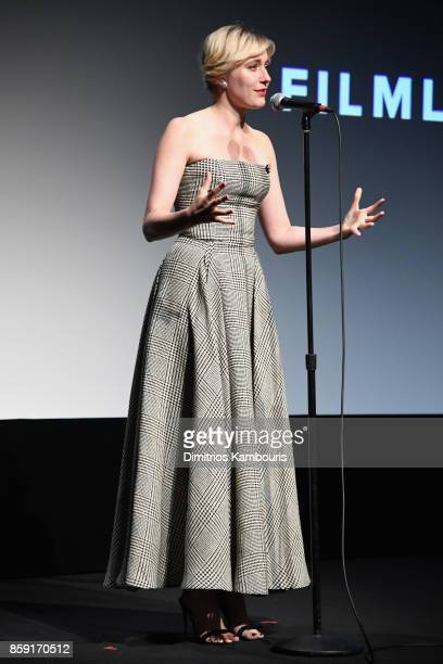 Writer Greta Gerwig onstage during 55th New York Film Festival screening of 'Lady Bird' at Alice Tully Hall on October 8 2017 in New York City