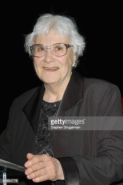 Writer Harper Lee speaks at the Library Foundation of Los Angeles 2005 Awards Dinner honoring Harper Lee at the City National Plaza on May 19, 2005...