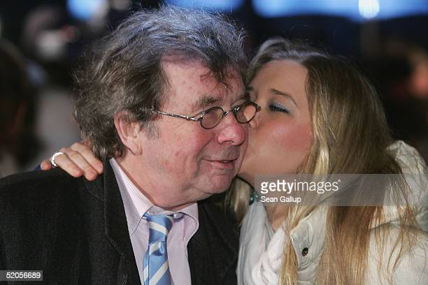 Writer Hellmuth Karasek and his daughter Laura arrive at the Berlin premiere of Vom Suchen Und Finden Der Liebe at the CineStar on January 24 2005 in...
