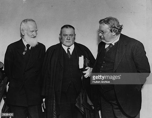 Writer Hilaire Belloc centre with fellow writers George Bernard Shaw left and G K Chesterton right Original Publication People Disc HA0260