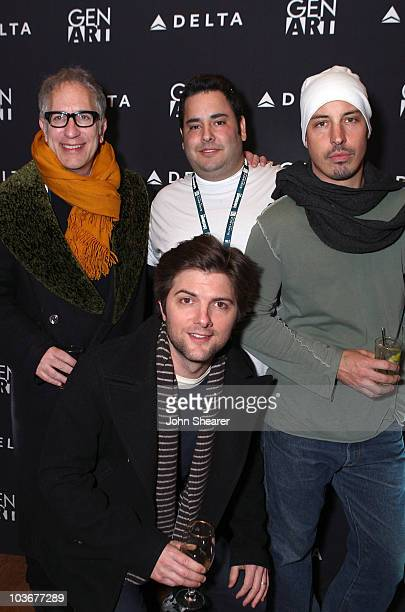 Writer Howard A Rodman actor Adam Scott producer David Guy Levy and director Austin Chick attends the 'August' Party at the 360 Sky Delta Lounge on...
