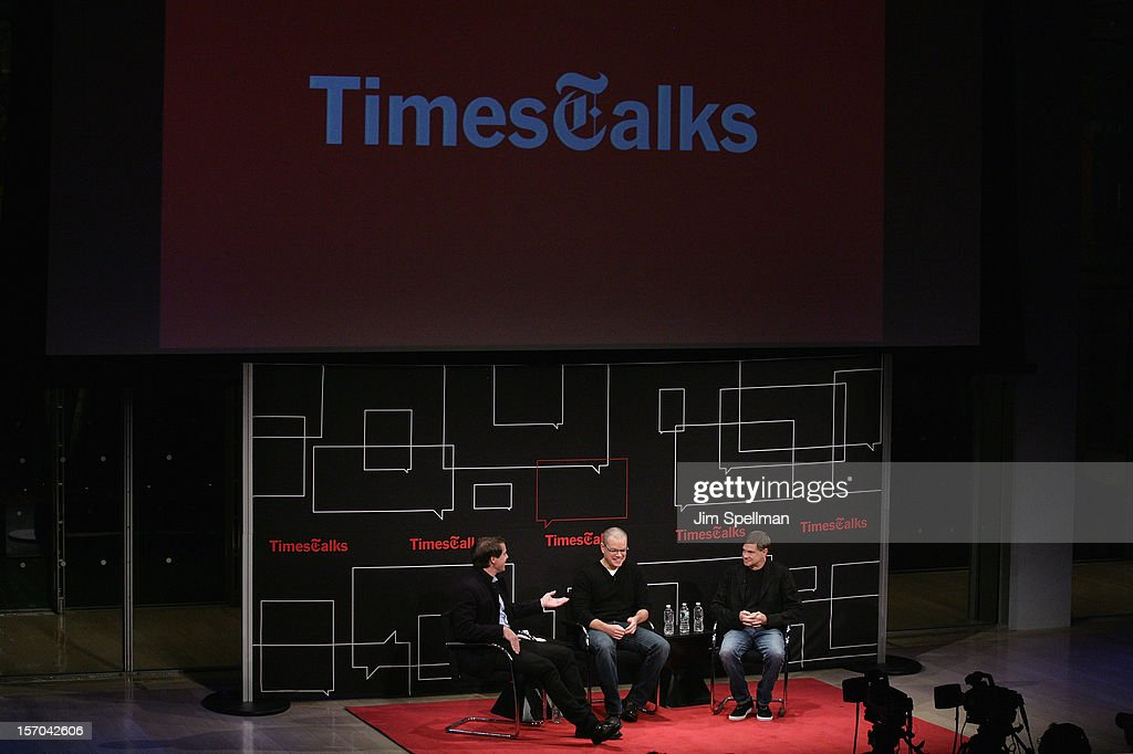 Writer Hugo Lindgren, actor Matt Damon and director Gus Van Sant attend TimesTalk Presents An Evening With Marion Cotillard, Matt Damon & Gus Van Sant at TheTimesCenter on November 27, 2012 in New York City.