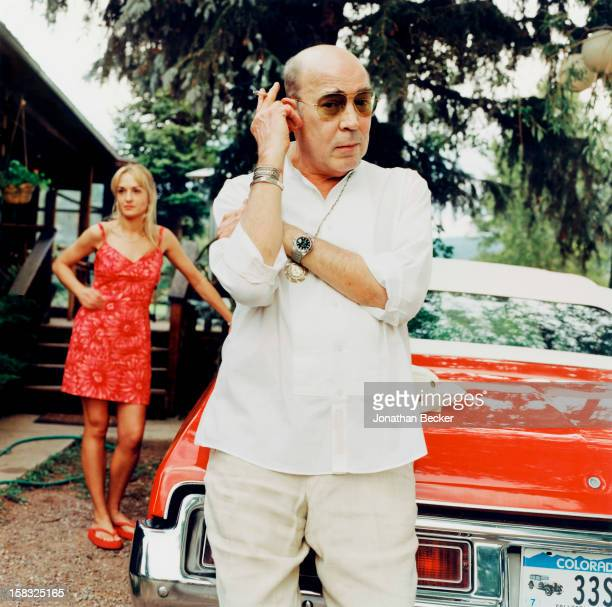 Writer Hunter S Thompson and Anita Bejmuk are photographed for Vanity Fair Magazine on July 7 2002 at home in Woody Creek Aspen Colorado PUBLISHED IN...