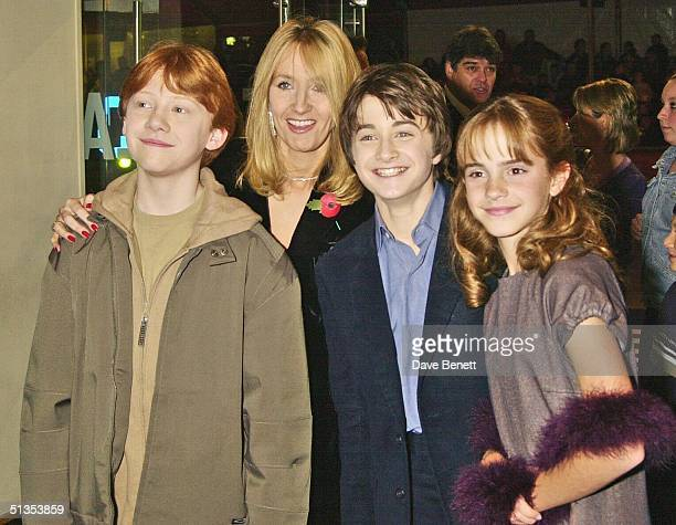 Writer J K Rowling with actors Daniel Radcliffe Rupert Grint and Emma Watson at the UK Film Premiere of 'Harry Potter And The Philosopher's Stone'...