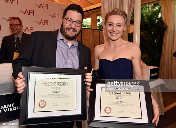 Writer Jack Amiel and actress Juliet Rylance pose with awards during the 15th Annual AFI Awards at Four Seasons Hotel Los Angeles at Beverly Hills on...