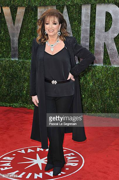 Writer Jackie Collins arrives at the 2010 Vanity Fair Oscar Party hosted by Graydon Carter held at Sunset Tower on March 7 2010 in West Hollywood...