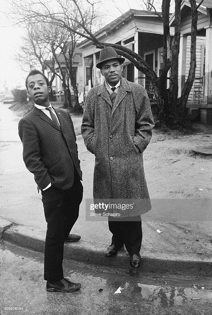 Writer James Baldwin stands with civil rights activist James Meredith in Jackson, Mississippi.