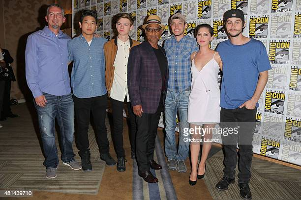 Writer James Dashner actors Ki Hong Lee Thomas BrodieSangster Giancarlo Esposito director Wes Ball actors Rosa Salazar and Dylan O'Brien arrive at...