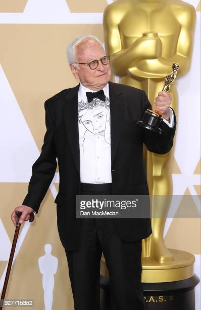 Writer James Ivory winner of the Best Adapted Screenplay award for 'Call Me By Your Name' poses in the press room at the 90th Annual Academy Awards...