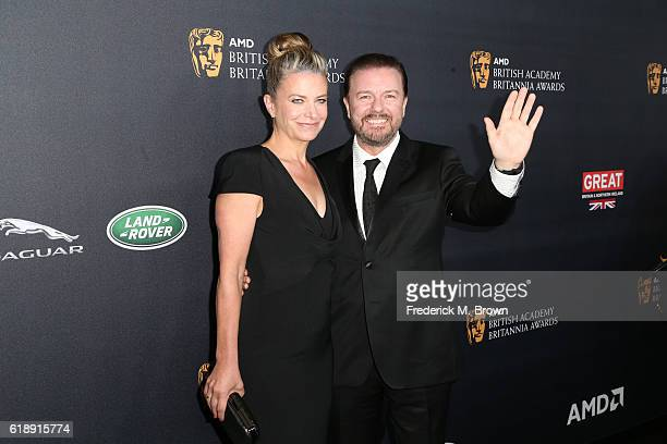 Writer Jane Fallon and honoree Ricky Gervais attend the 2016 AMD British Academy Britannia Awards presented by Jaguar Land Rover and American...