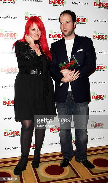 Writer Jane Goldman and director Matthew Vaughn pose in front of the winners' boards with the Best SciFi/Fantasy award for 'Stardust' at the Sony...