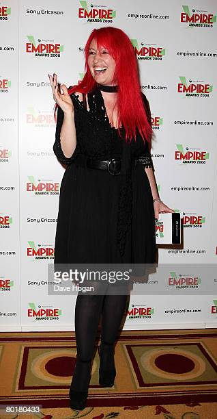 Writer Jane Goldman poses in front of the winners' boards with the Best SciFi/Fantasy award for 'Stardust' at the Sony Ericsson Empire Awards 2008 at...