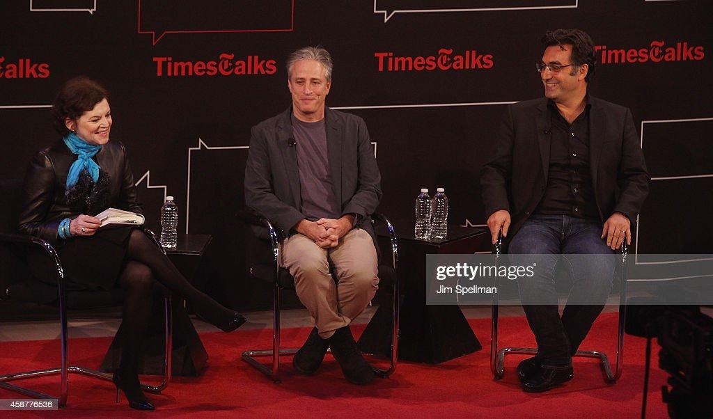 Writer Janet Maslin, director/tv personality Jon Stewart and journalist Maziar Bahari attend the TimesTalks with Jon Stewart and Maziar Bahari at TheTimesCenter on November 10, 2014 in New York City.