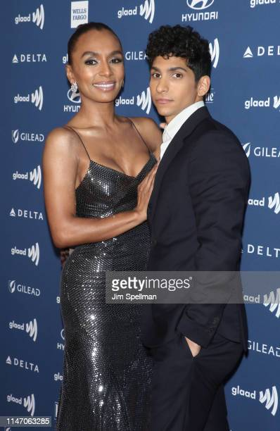 Writer Janet Mock and actor Angel Bismark Curiel attend the 30th Annual GLAAD Media Awards at New York Hilton Midtown on May 04 2019 in New York City