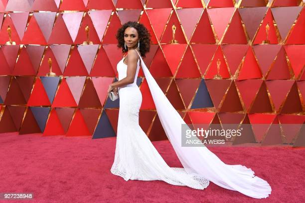 US writer Janet Mock arrives for the 90th Annual Academy Awards on March 4 in Hollywood California / AFP PHOTO / ANGELA WEISS