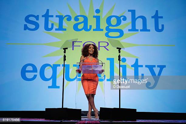 Writer Janet Mock speaks onstage at PFLAG National's eighth annual Straight for Equality awards gala at Marriot Marquis on April 4 2016 in New York...