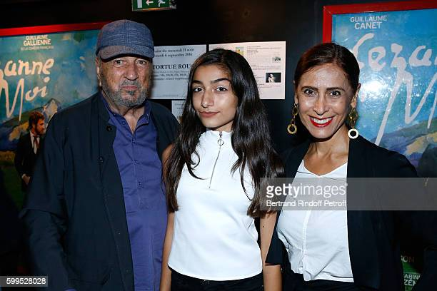 Writer JeanClaude Carriere with his wife Nahal Tajadod and their daughter Kiara attend the Cezanne et Moi Premiere on September 5 2016 in Paris France