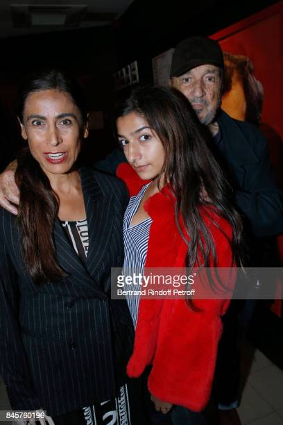 Writer JeanClaude Carriere with his wife Nahal Tajadod and their daughter Kiara attend the Le Redoutable Paris Premiere at Cinema du Pantheon on...