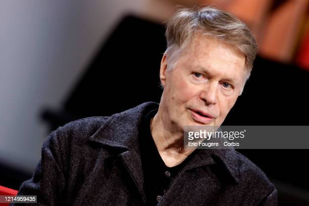 Writer Jean-Marie Gustave Le Clézio poses during a Tv talk show La Grande Librairie on France 5 presented by Francois Busnel on March 11, 2020 in...
