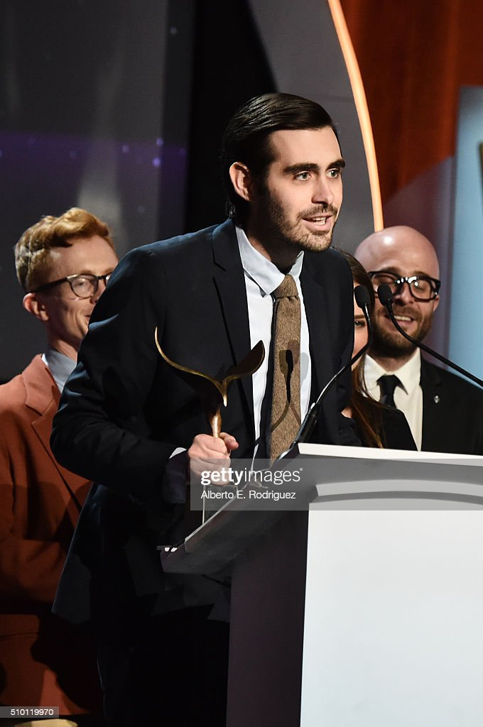 Writer Jeff Loveness accepts the Comedy/Variety Specials award for 'Jimmy Kimmel Live: 10th Annual After The Oscars Special' onstage during the 2016 Writers Guild Awards at the Hyatt Regency Century Plaza on February 13, 2016 in Los Angeles, California.