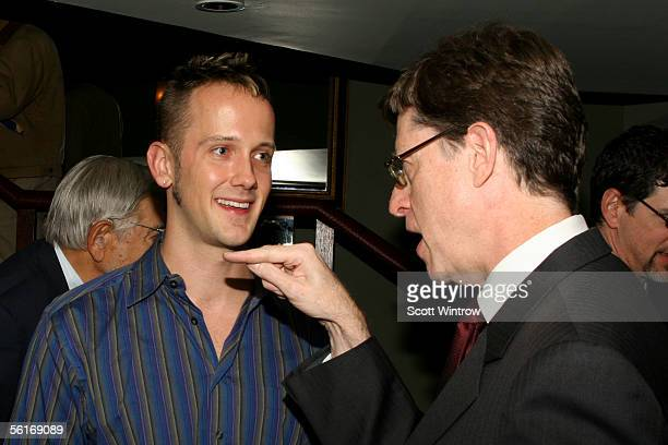 Writer Jeff Whitty and Peter Franklin attend the William Morris Agency Honors the Actor's Fund Of America Party at Providence on November 14 2005 in...