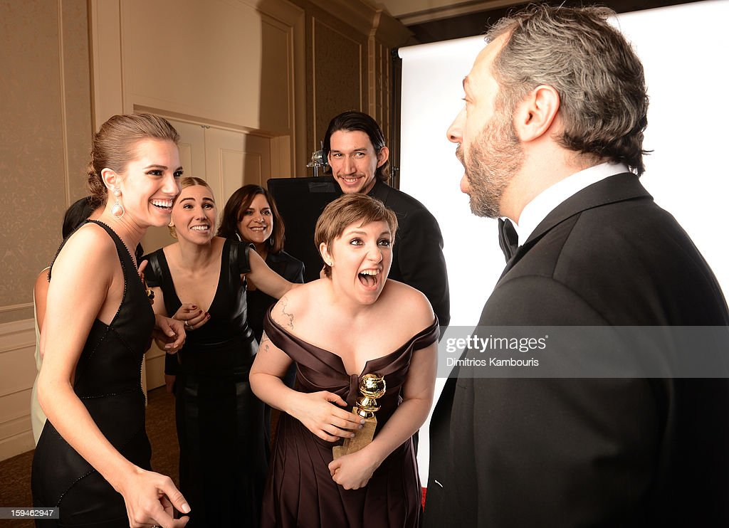 Writer Jennifer Konner (L, back row), Allison Williams, Zosia Mamet, Executive Producer Ilene Landress, actress/writer Lena Dunham, actor Adam Driver (C, back row) and producer Judd Apatow of 'Girls' pose for a portrait at the 70th Annual Golden Globe Awards held at The Beverly Hilton Hotel on January 13, 2013 in Beverly Hills, California.